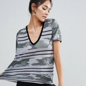 ASOS Graphic T-Shirt In Camo And Stripe Print